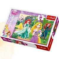 Пазли - (30 елм.) - Рапунцель, Меріда, Аріель і Білосніжка / Дісней принцеси