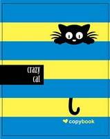 Блокнот для нотаток ф.В5, бок. пружина, 60 арк. офсет, клітинка Серія Crazy Cat on dark blue Ц355035У