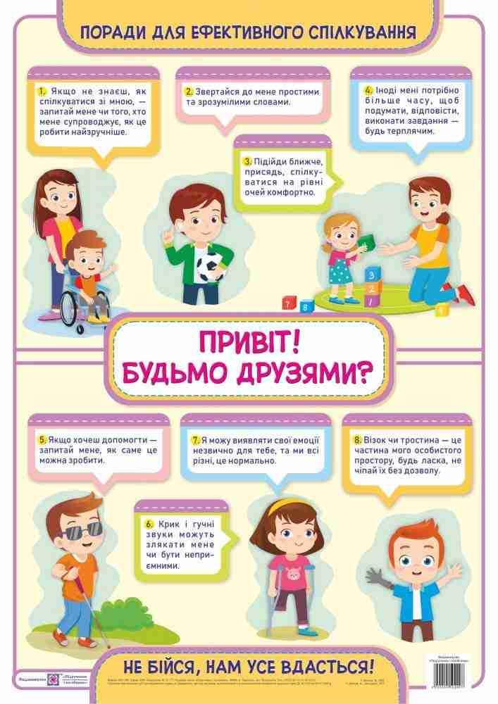 Привіт Будьмо друзями Плакат з інклюзії Демчук В. Підручники і посібники