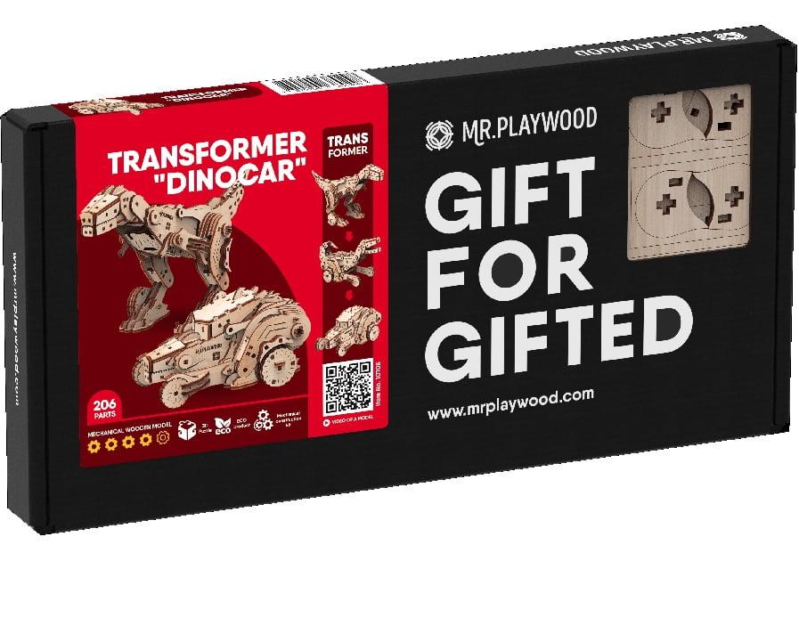 "Трансформер ""Динокар"".  Механічна дерев'яна 3D-модель"