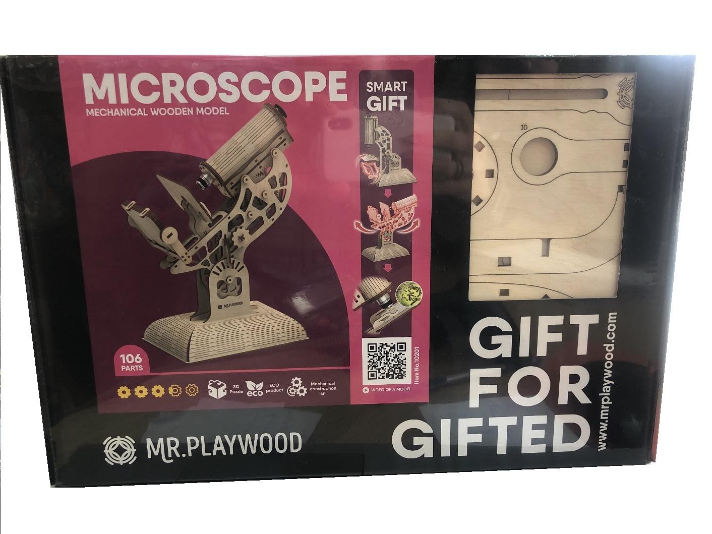 Мікроскоп. Механічна дерев'яна 3D-модель